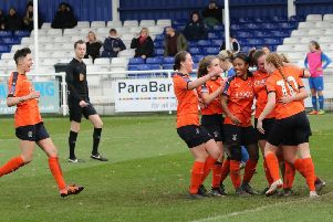 Luton Town Ladies celebrate Aurora Ryan's goal