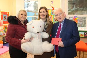 Fionnuala O'Neill and Elaine McNickle from the�The Makeup and Hair Studio�in Coalisland present a cheque for �560 to the Buddy Bear Trust Conductive Education School which helps children with cerebral palsy. Included in the picture is Brendan McConville, Chair of the Trust.