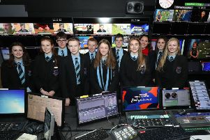 Year 10 pupils from Portadown College in the BBC Newsline gallery