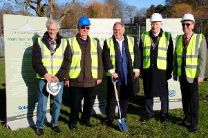 Groundbreaking ceremony, February 11, 2019: Rotary presidents of Luton's four clubs with district governor David Ford