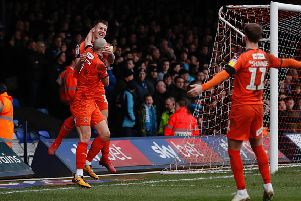 James Collins celebrates his goal with striker partner Danny Hylton