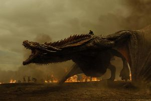 Daenerys on her dragon in Game Of Thrones