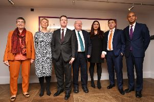 (L-R) Labour MP's Anne Coffey, Angela Smith, Chris Leslie, Mike Gapes, Luciana Berger, Gavin Shuker and Chuka Umunna announce their resignation from the Labour Party 775300582