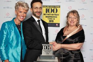 Keech Hospice Care trustee Karen Proctor, Deputy Editor at Sunday Times 100 Best Companies Nick Rodrigues, and Keech CEO Liz Searle at the awards ceremony on February 20.
