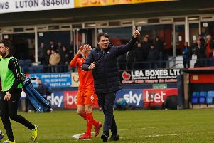 Mick Harford celebrates Saturday's 2-0 win over Rochdale