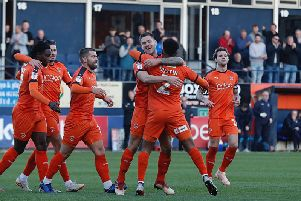 Luton celebrate a goal against Plymouth back in November