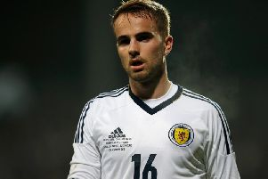 Andrew Shinnie during his Scotland debut against Luxembourg