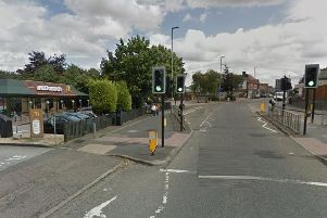 The victim was stabbed on Marsh Road and fled to McDonald's (left)