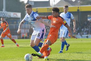 James Justin gets a cross in against Bristol Rovers