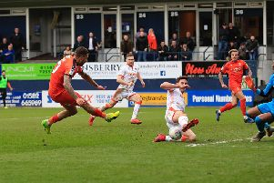 George Moncur almost wins it for the Hatters against Blackpool