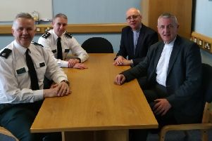 The Presbyterian Moderator with senior officers at Strand Road PSNI Station, Londonderry. Pictured l-r are PSNI's Derry City and Strabane District Commander T/Superintendent Alan Hutton, T/Chief Inspector Jonny Hunter, Very Rev Dr Rob Craig and the Moderator, Dr Charles McMullen.