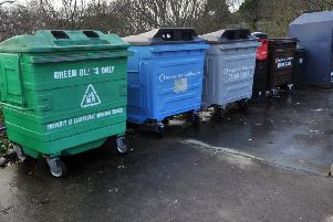 Public recycling site bins in Dukes Drive, Meads, Eastbourne. January 9th 2014 E01170Q ENGSUS00120140901154359