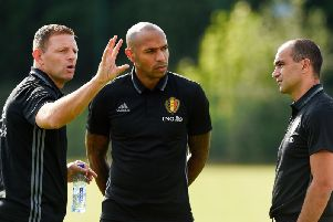 Graeme Jones with Roberto Martinez and Thierry Henry during his time as Belgium assistant manager