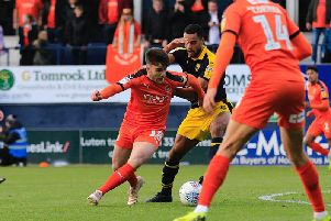 Aaron Connolly in action for the Hatters on Saturday