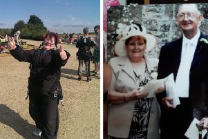 Left: Margaret completed her skydive in 2014. Right: with Anthony.