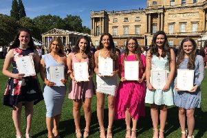 From left to right: Karen Pollock, Claire Waring, Rebecca Henry, Emma Boyd, Caitlin Parks, Phebe Redmond and Anna Tinsley. Sarah Dunn, who also received her award, is missing from the photograph