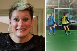 Left: Shannon. Right: playing hockey (in yellow).