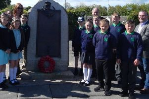 Fund trustees with the pupils at the Steele Memorial prior to the school visit to the Somme Centre.