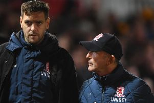 New Middlesbrough boss Jonathan Woodgate with former manager Tony Pulis