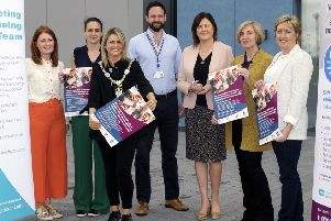 SHSCT Community Health Improvement Officer Lisa McAliskey, ED Consultant Eleanor McCormick, Lord Mayor Cllr Mealla Campbell, Paediatric Consultant Jonathan Henderson, Armagh, Banbridge & Craigavon Environmental Health Head of Department Gillian Topping, PHA Lead of Accident Prevention Lucille Lennon and Armagh, Banbridge & Craigavon Environmental Health Business Support Eileen Maguire. �Edward Byrne Photography