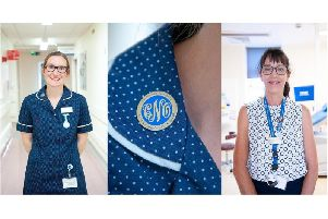 Holly Slyne (Left) and Gillian Smith (Right) received their Chief Nursing Officer badges (centre) in June.