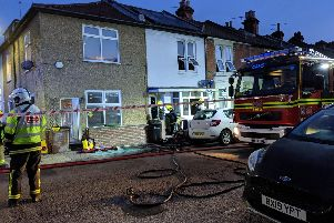 Firefighters at the scene in the early hours. Picture: Callum Slater