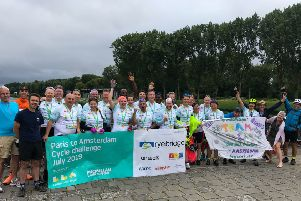 The team at the finish line.