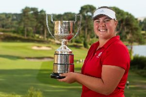 Berkhamsted GC's Alice Hewson with the European Ladies' Amateur Championship trophy. (Picture by Leaderboard Photography).