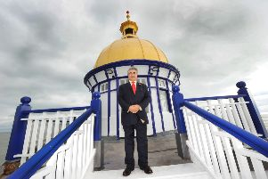 Sheikh Abid Gulzar and Camera Obscura on Eastbourne Pier (Photo by Jon Rigby) SUS-161011-102619008