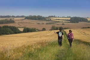 Walkers enjoying the Lincolnshire Wolds landscape. EMN-190820-141917001