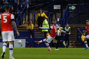 Andrew Shinnie goes for goal against Sheffield Wednesday on Tuesday night