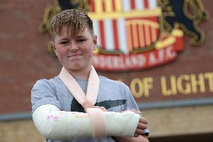 SAFC fan Jonathan Crooks, 13, was left with a broken arm after Pompey midfielder's free kick.