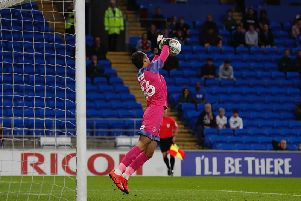 James Shea makes a save against Cardiff on Tuesday night
