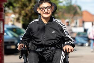 Danyal in his new wheelchair