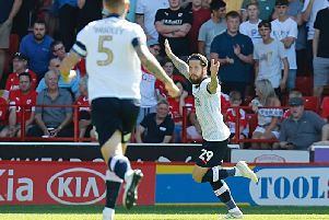 Jacob Butterfield celebrates scoring against Barnsley earlier this month