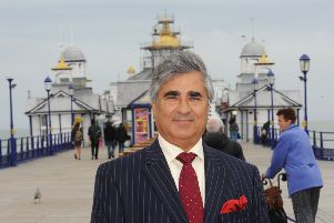 Mr Gulzar on Eastbourne Pier (Photo by Jon Rigby) SUS-160408-083038008