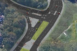 An aerial view of the proposed T junction