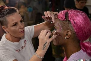 Shelley works her magic on a model at London Fashion Week