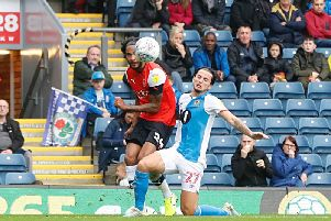 Izzy Brown delivers the cross for James Collins to make it 1-0 at Blackburn yesterday