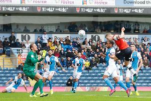 James Collins powers home his 50th goal for the club