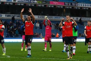 The Hatters' players enjoy a 2-1 win at Blackburn on Saturday