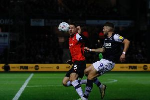 Sonny Bradley in action for the Hatters this evening