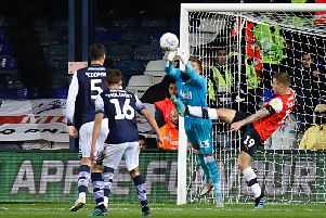 Action from Luton's 1-1 draw with Millwall last night