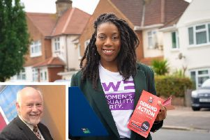 Serena Laidler campaigns in Luton North; (inset) MP Kelvin Hopkins