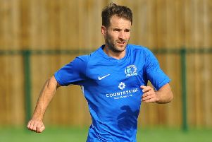 Jamie Taylor put Broadbridge Heath 2-0 against Crawley Down Gatwick in the RUR Cup. Picture by Steve Robards