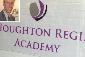 Andrew Selous (inset) has concerns about Houghton Regis Academy