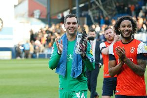 James Shea celebrates keeping Town's first clean sheet in the Championship on Saturday