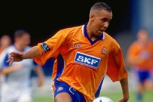 Former Town striker Liam George in action during his playing days for the Hatters