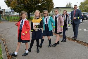 Pupils at Shipston Primary School are among those who have been given the high visibility snap bands. Photo submitted.