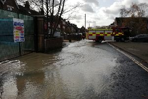 The road in Horsham is submerged under a foot of water